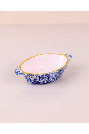 Kütahya Porselen 4 Adet 4 Farklı Renk Ebruli Kulplu Çerezlik Kase Oval 14cm