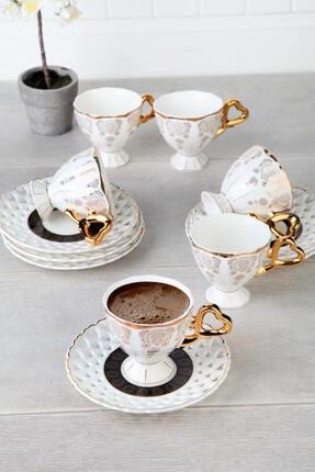 ACAR Porselen Altın Yaldızlı Lüx 6 kişilik Kahve Takımı