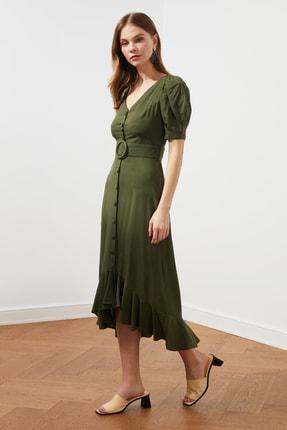 TRENDYOLMİLLA Haki Kemerli Düğmeli Elbise TWOSS20EL2520
