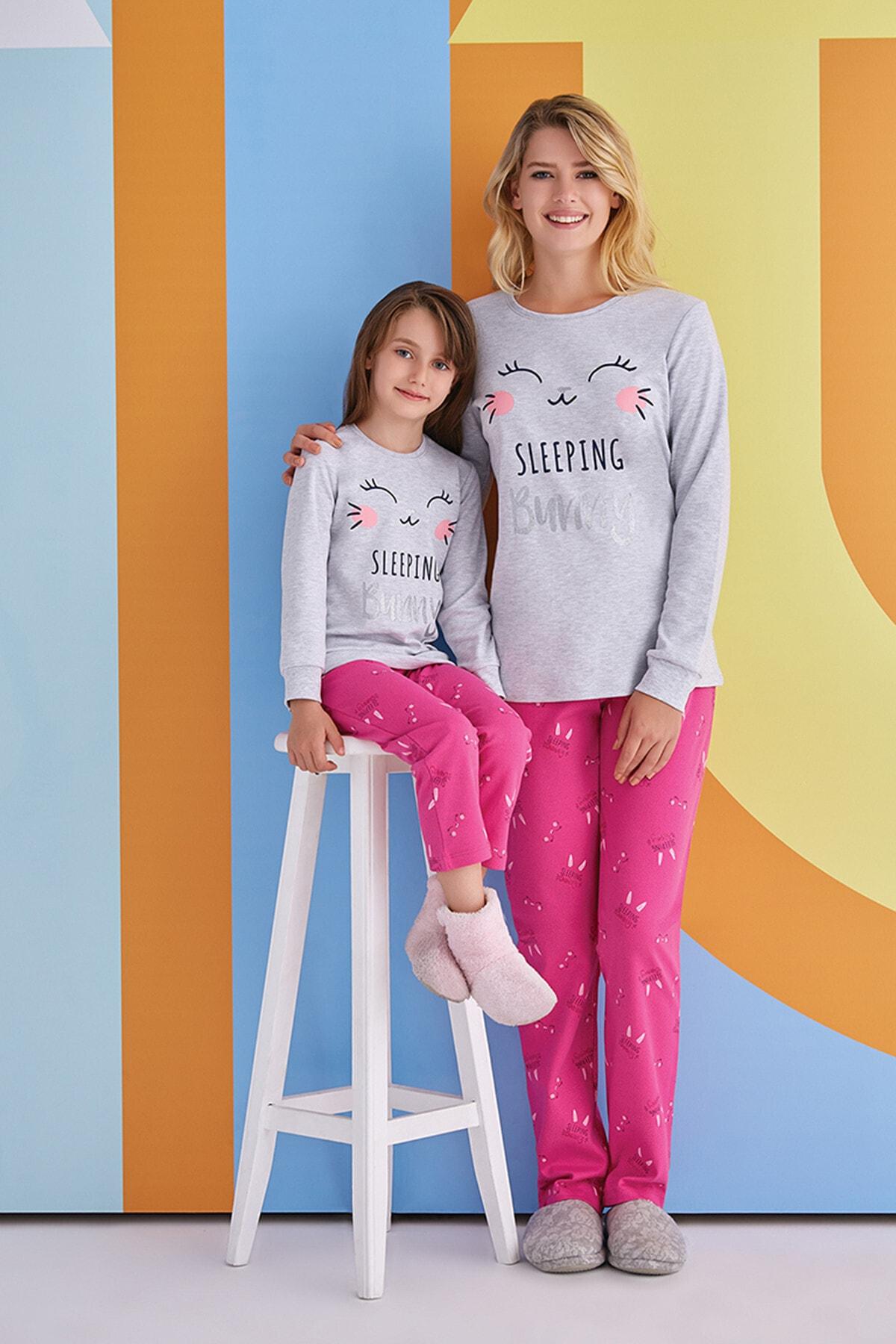 ROLY POLY Kadın Gri Pembe Desenli Uzun Kollu Pijama Takımı  1378 2