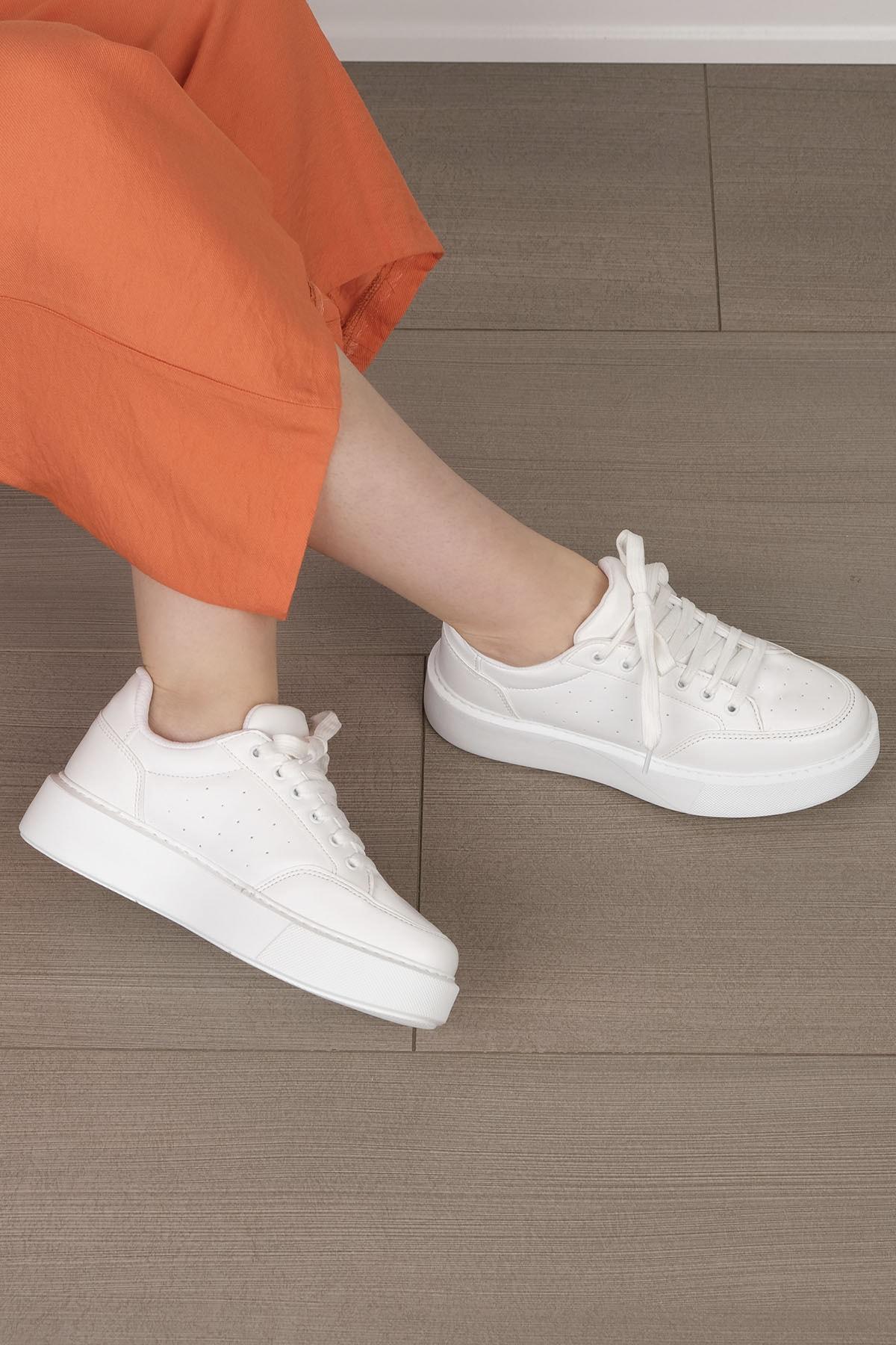 Marjin Kadın Beyaz Kalın Taban Sneaker Ayakkabı Azin