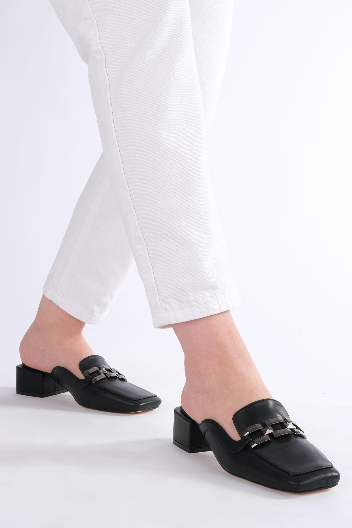 Marjin Kadın Siyah Topuklu Terlik Berma 2