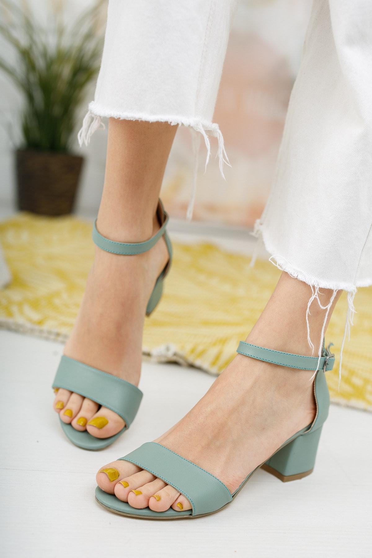 meyra'nın ayakkabıları Yeşil Tek Bant Topuklu Ayakkabı 1