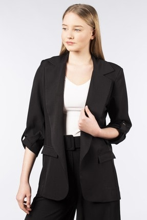 BARRELS AND OIL Kadın Siyah Kolu Büzgülü Blazer Ceket