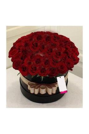 Evsay Büyük Silindir Kutuda Kadife Kırmızı Güller Dekoratif Kutu Sevgili Buketi, Kız Isteme Buketi