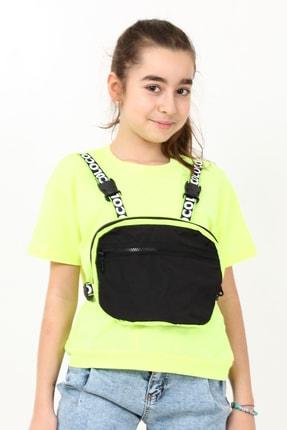 Enisena Neon Sarı Kız Çocuk Çantalı Tshirt