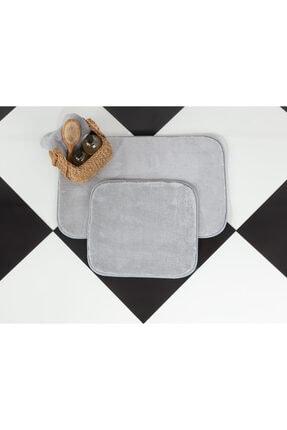 Madame Coco Carol 2'li Banyo Paspası - Gri - 50x80 45x50 Cm
