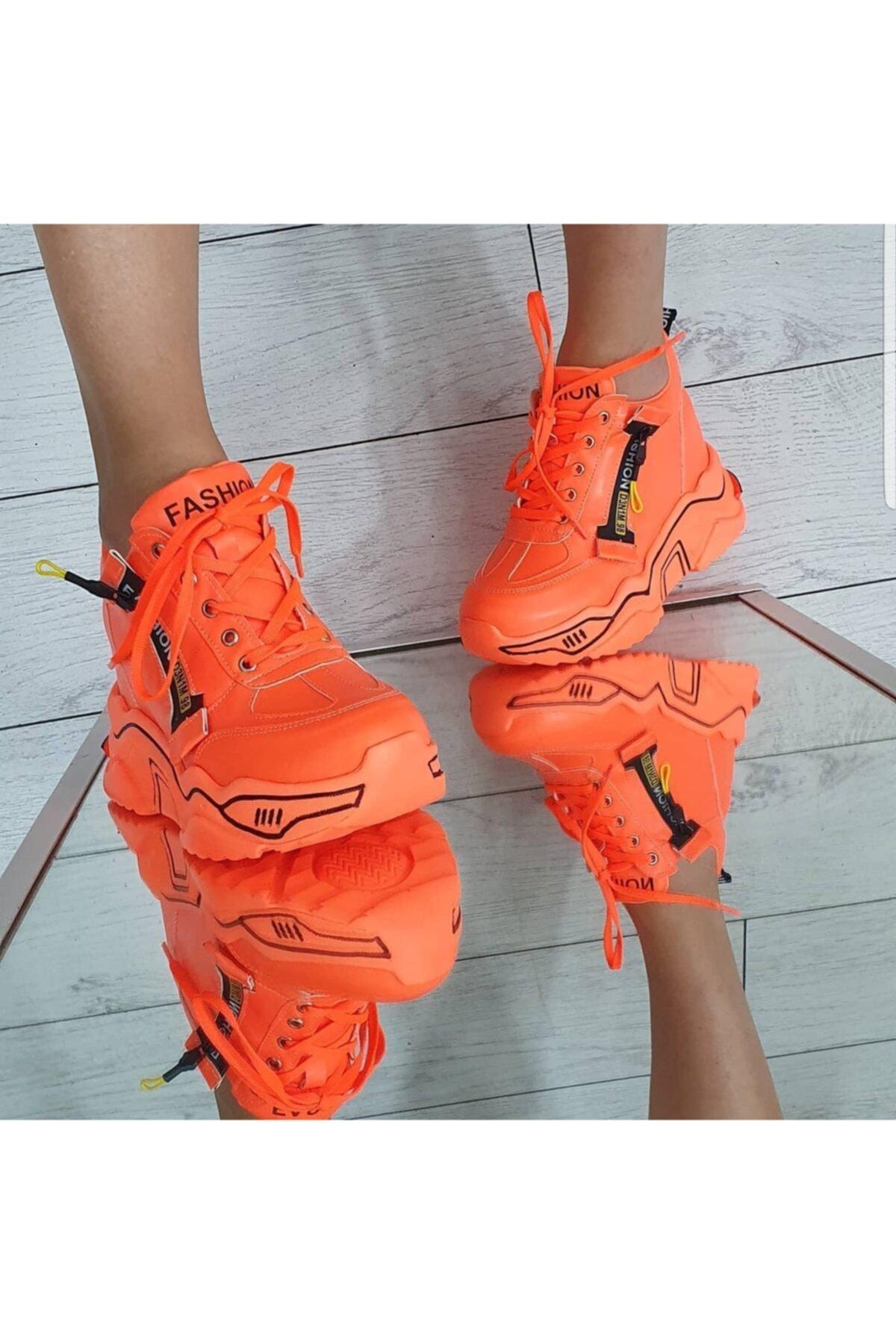 GOTHICA Turuncu Neon Gizli Topuklu Spor Ayakkabı 1