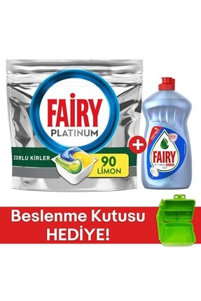 Fairy Platinum 90 Yıkama Kapsül Limon Kokulu +platinum 500 Ml Hijyen+beslenme Kutusu