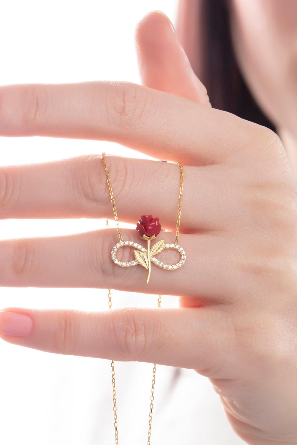 takı tak silver Kadın Tamamı Saf 925 Ayar Gümüş Altın Kaplama Zirkon Taşlı Sonsuzluk Kırmızı Gül Model Kolye 1