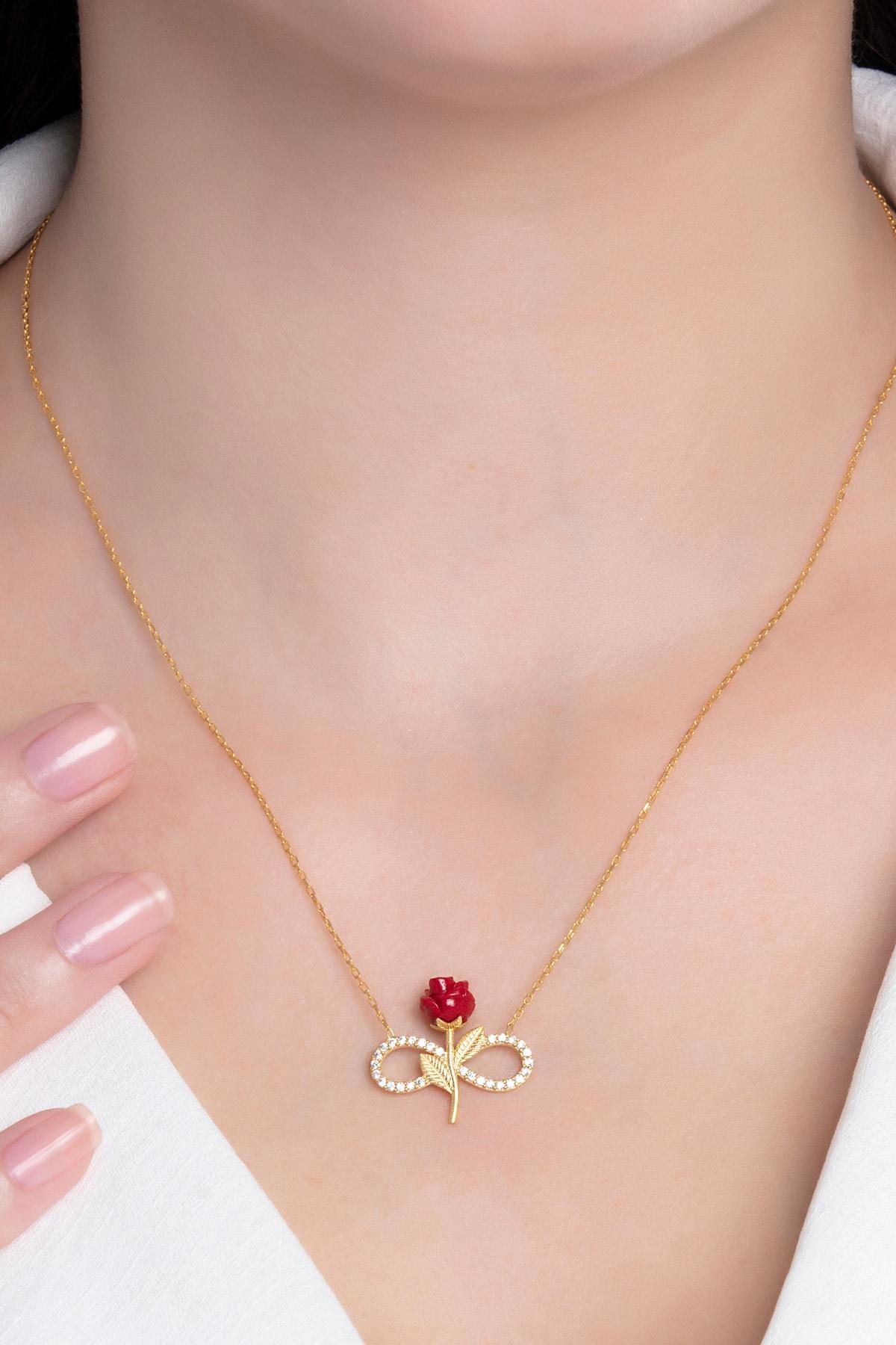 takı tak silver Kadın Tamamı Saf 925 Ayar Gümüş Altın Kaplama Zirkon Taşlı Sonsuzluk Kırmızı Gül Model Kolye 2