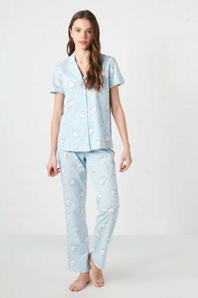 LC Waikiki Kadın Açık Mavi Baskılı Pijama Takım