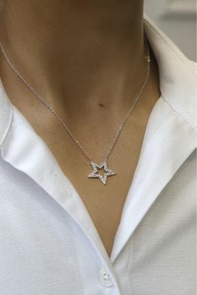 Marjin Kadın Zirkon Taşlı Yıldız Figürlü Gümüş Renkli Kolyegümüş