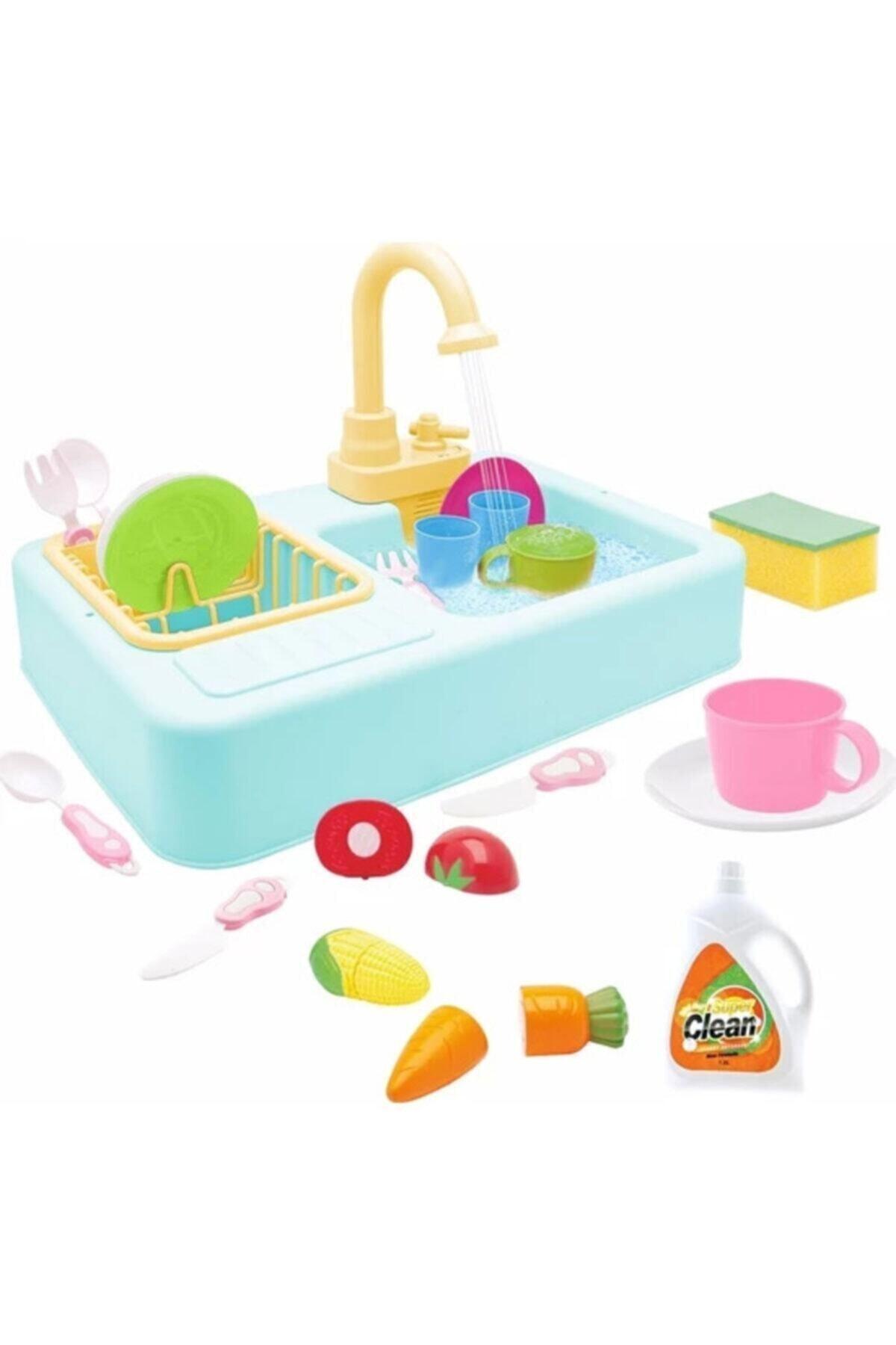 Kayyum Oyuncak Lavabo Seti Pilli Mutfak Oyuncak Modern Çeşmeli Oyuncak Seti 1
