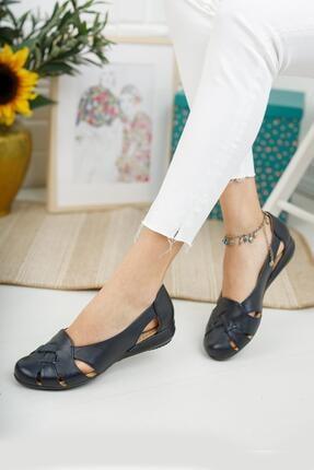 Diego Carlotti Kadın Lacivert Hakiki Deri Günlük Kapalı Sandalet Babet