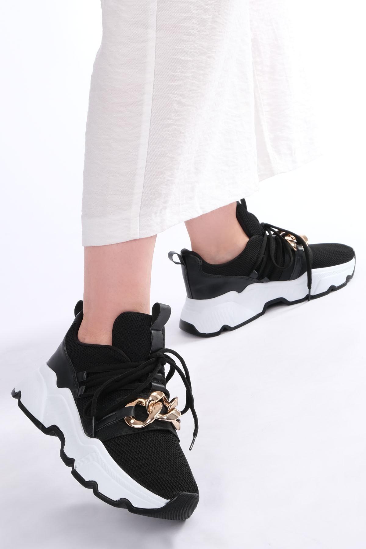 Marjin Kadın Siyah Sneaker Dolgu Topuk Spor Ayakkabı Osla