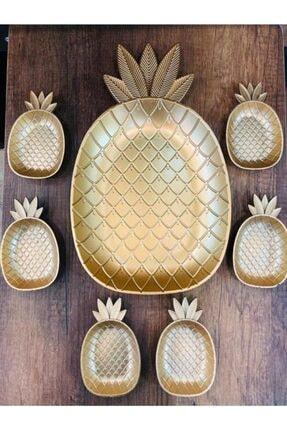 HOMENIVA Gold Sarı Ananas Sunum Seti