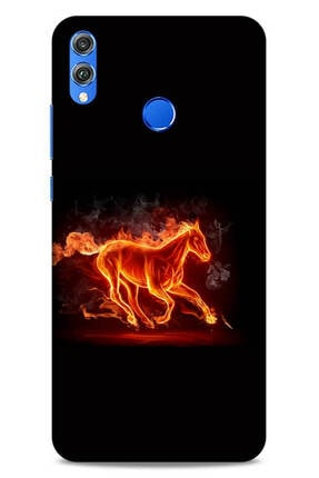 Lopard Huawei Honor 8x Uyumlu Kılıf Firex (28) Arka Kapak Ateşli At