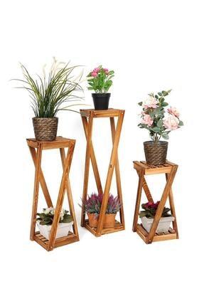DEHAMODA Ahşap 3lü Takım Saksı Standı Saksılık Çiçeklik 3 Boy Balkon Saksılık Salon Çiçeklik