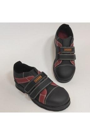 DOZER WORK SHOES Unisex Siyah Hakiki Deri Çelik Burunlu Çift Bağcıklı İş Ayakkabısı