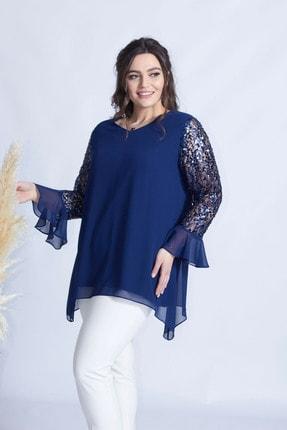 Moda Berray Kadın Lacivert Kolu Dantel Pullu Şifon Büyük Beden Şık Bluz 1939