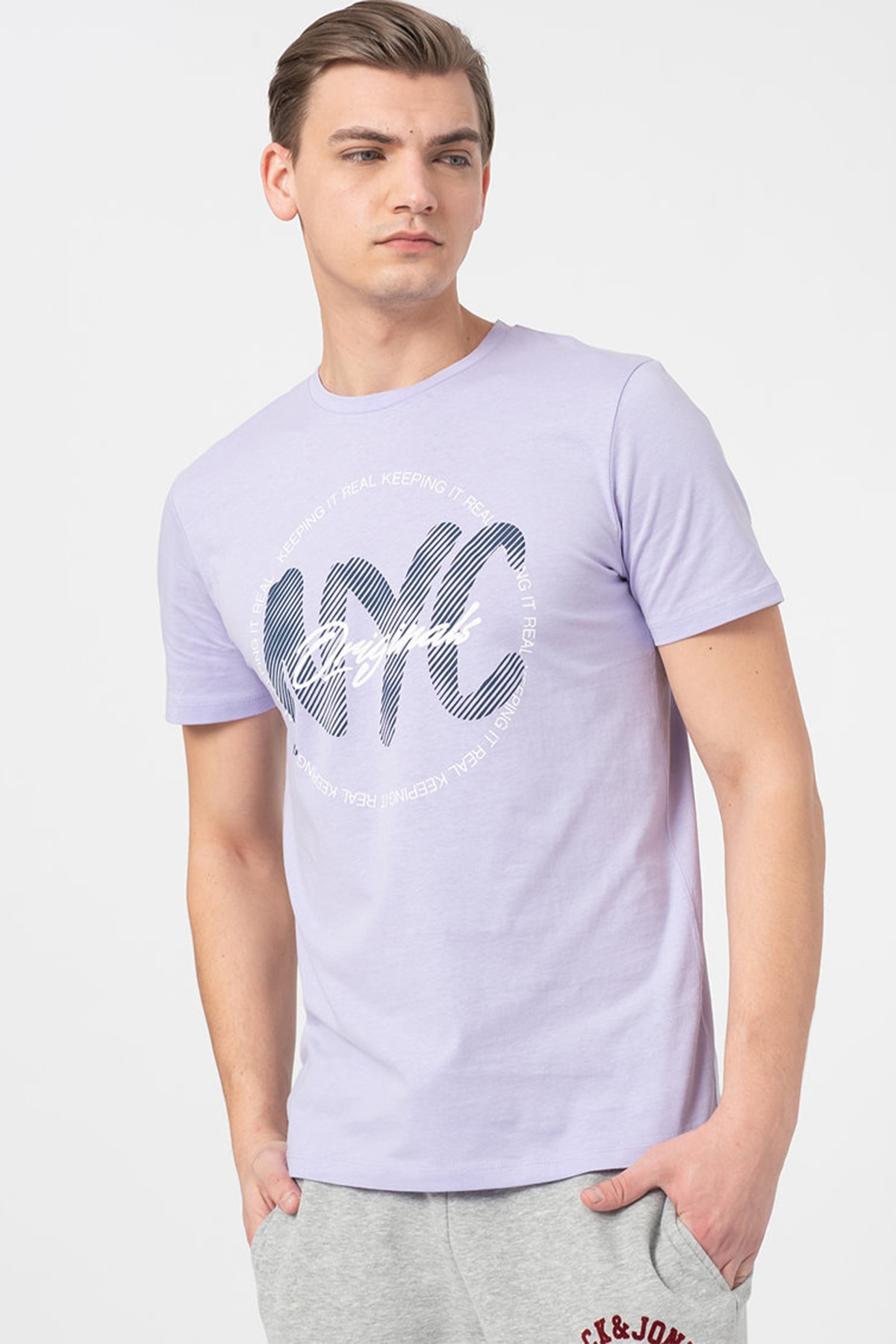 Jack & Jones Erkek Lila 0 Yaka T-Shirt 2