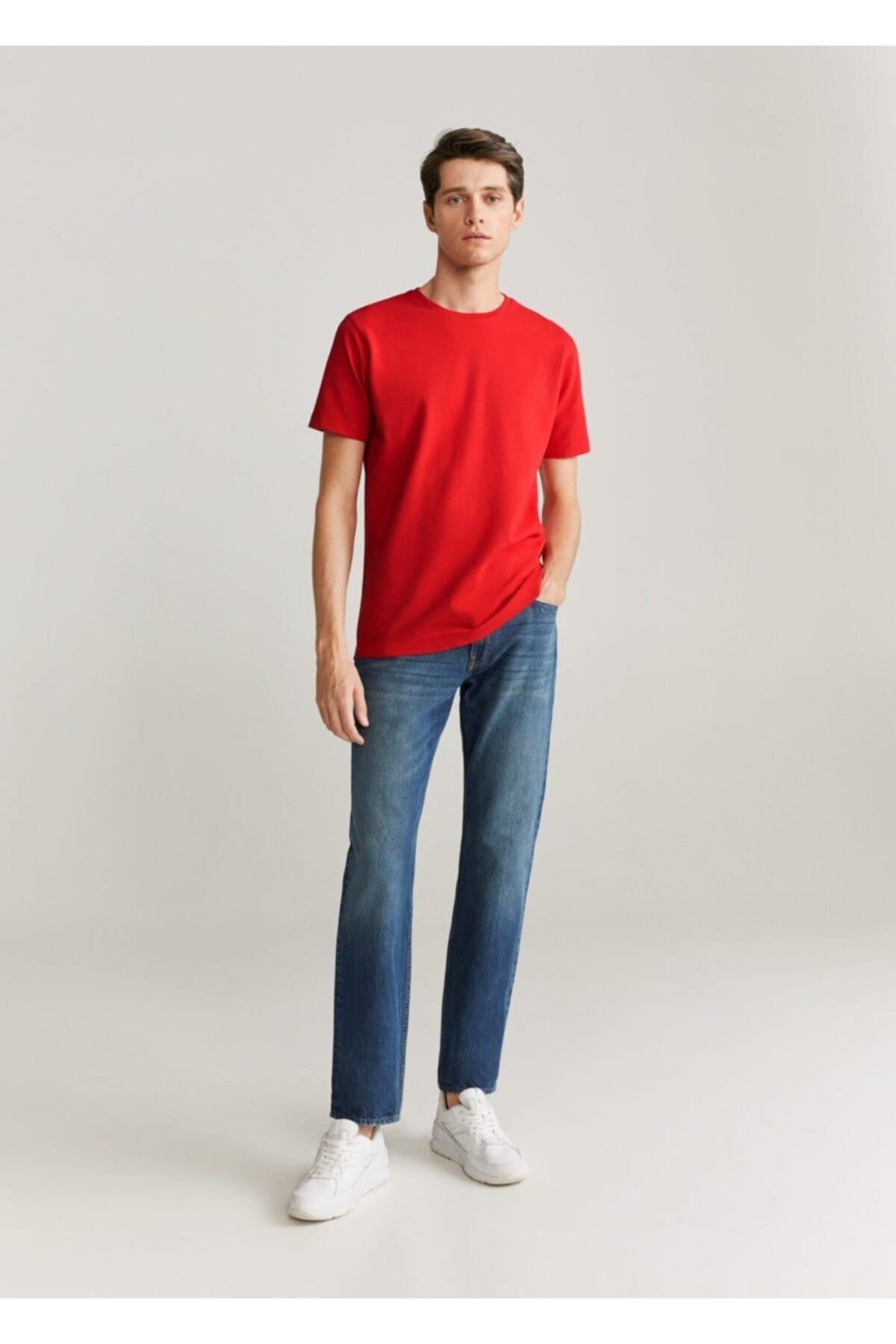 MANGO Man Erkek Kırmızı Pamuklu Dokuma Tişört 67027671 2