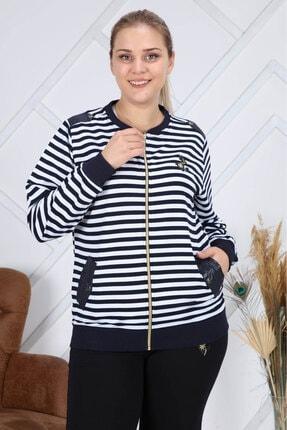 Heves Giyim Kadın Lacivert Çizgili Eşofman Takımı 3'lü