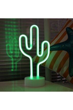 Lumenn Kaktüs Neon Gece Lambası Pilli Yeşil Renkte Dekoratif Led Aydınlatma-masa Dekor Led Aydınlatma