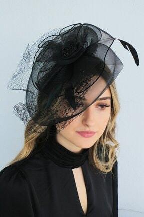 TAKIŞTIR Kadın Siyah Abiye Nikah Şapkası Vualet #1