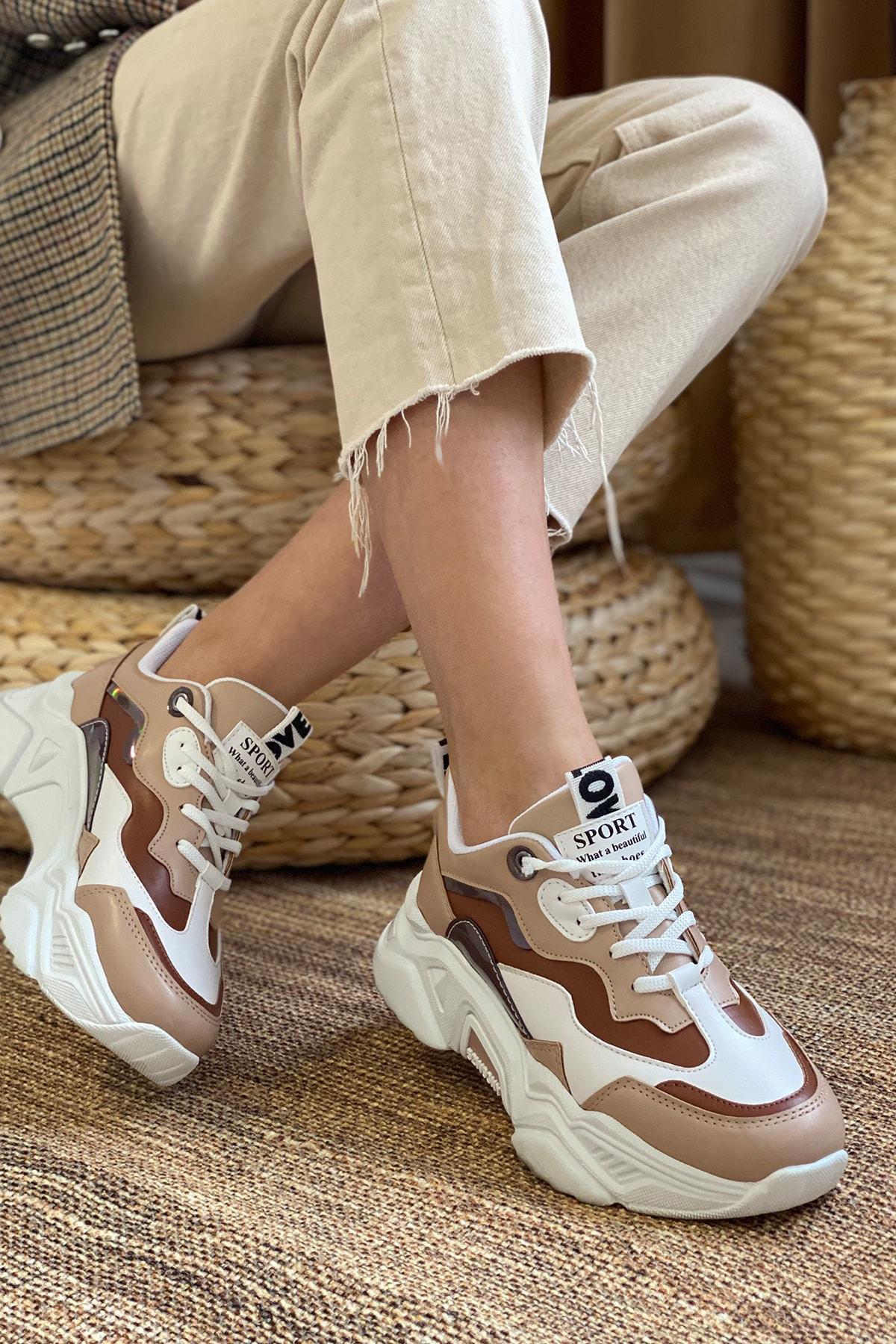 DARK SEER Kadın Taba Beyaz Sneaker 1