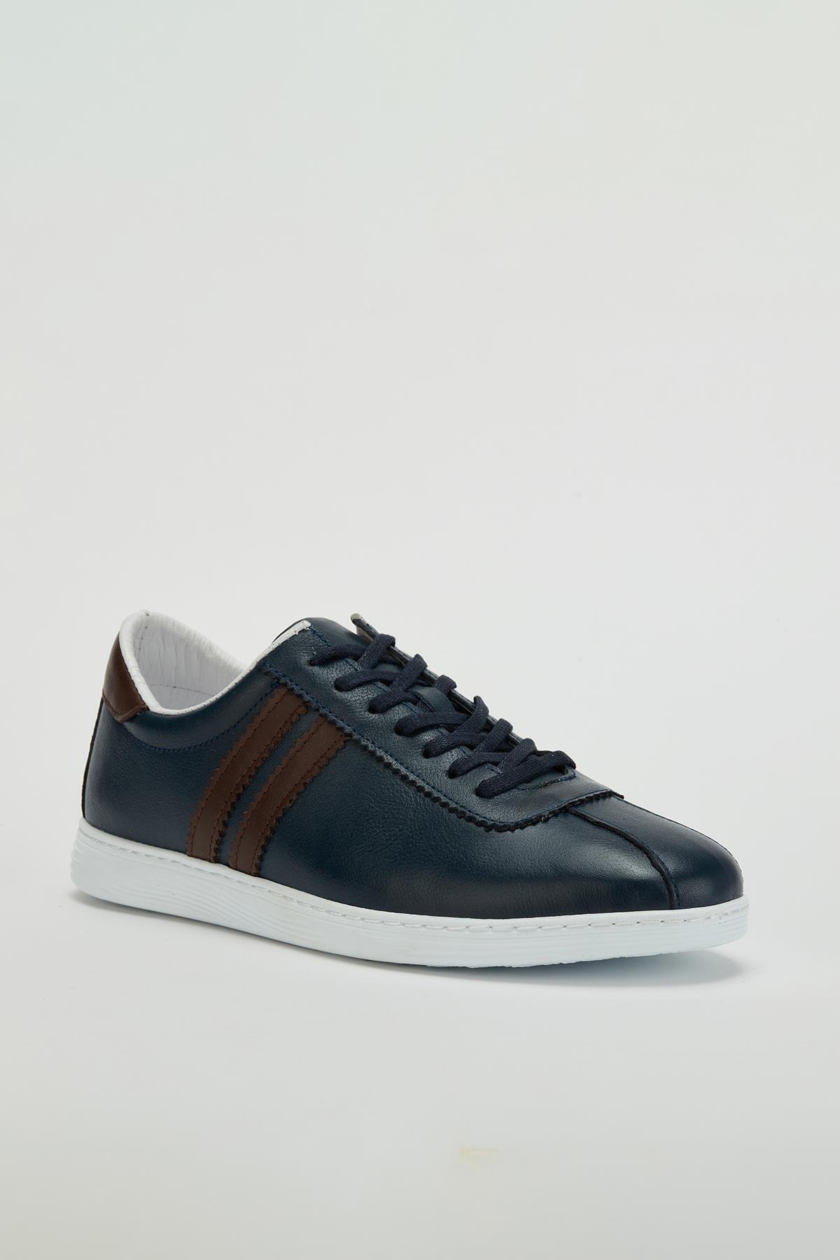 MUGGO Erkek Lacivert Hakiki Deri Sneaker Ayakkabı Mgversay02 1