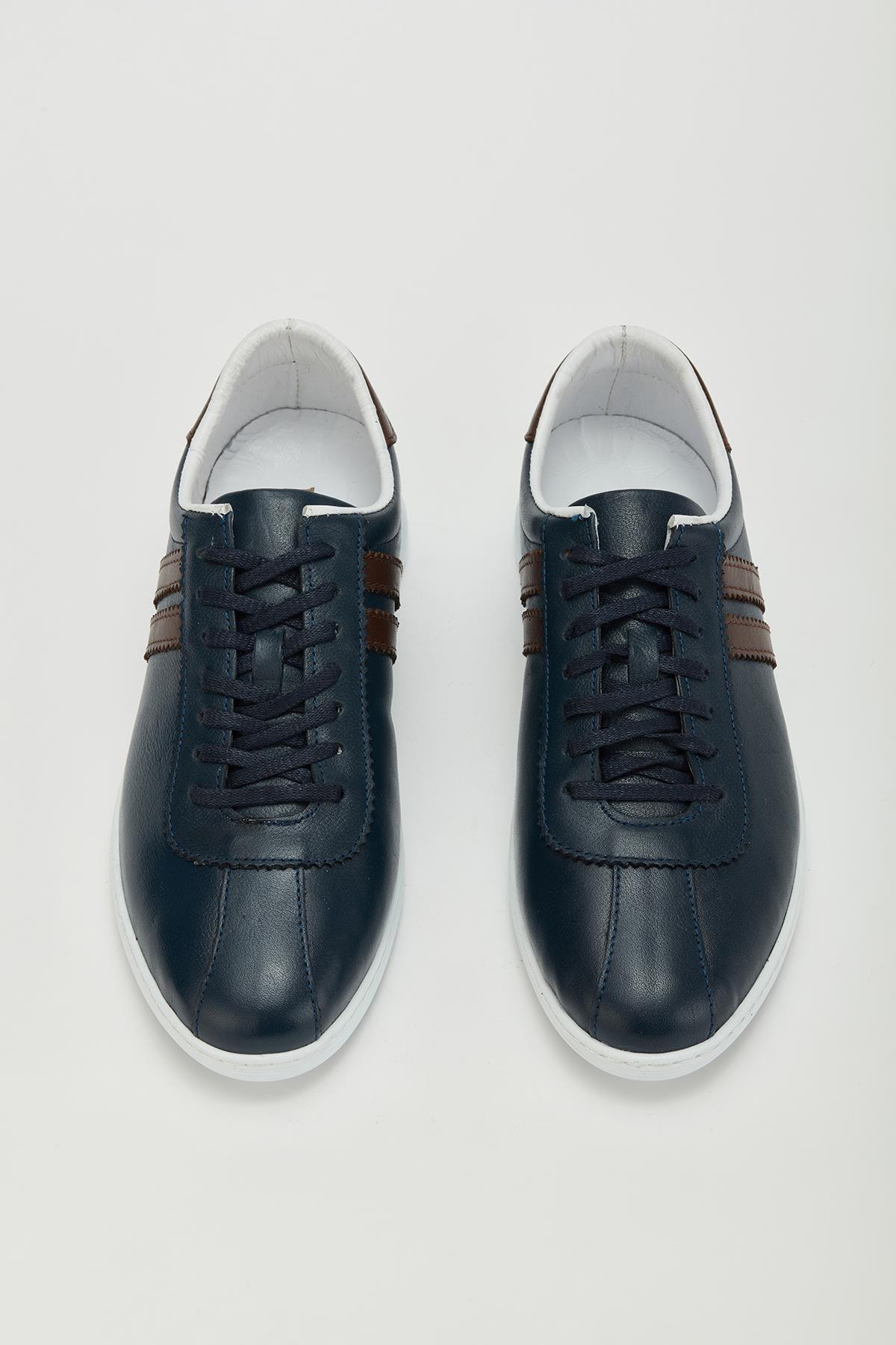 MUGGO Erkek Lacivert Hakiki Deri Sneaker Ayakkabı Mgversay02 2