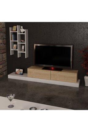 ARNETTİ Lucida Tv Ünitesi Yaşam Odası, Salon, Ve Oturma Odası, Tv Sehpası Beyaz-safirmeşe