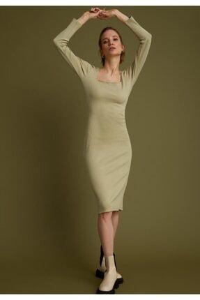 DeFacto Kadın Yeşil Kare Yaka Uzun Kollu Pamuklu Elbise