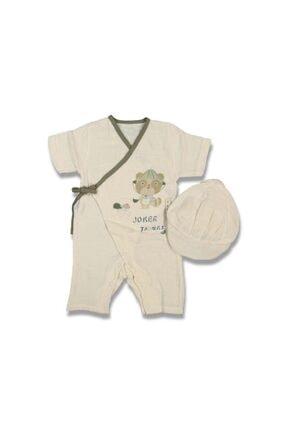 GG Bambino Krem Erkek Bebek Şapkalı Organik Müslin Tulum