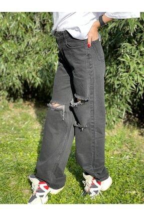 Quzu Kadın Füme Geniş Yırtıklı Yüksek Bel Bol Paça Jean Pantolon
