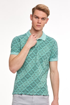 Hemington Çiçek Desenli Pike Örgü Yeşil Polo Yaka T-shirt