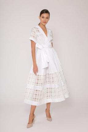 xGIZIA Transparan Ekose Detaylı Beyaz Uzun Poplin Elbise