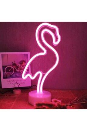 Lumenn Flamingo Neon Gece Lambası Pilli Pembe Renkte Dekoratif Led Aydınlatma-masa Dekor Led Aydınlatma