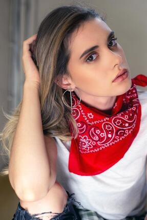 New Obsessions Kadın Desenli Kırmızı Bandana