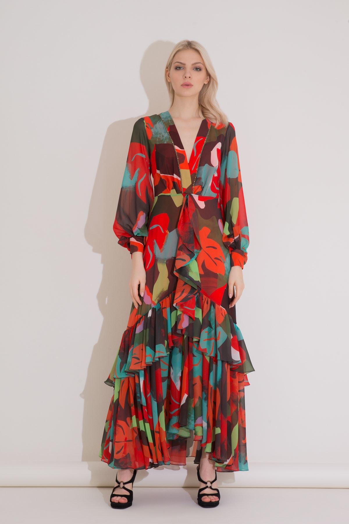 xGIZIA Desenli Karışık Renkli V Yaka Uzun Şifon Elbise 1