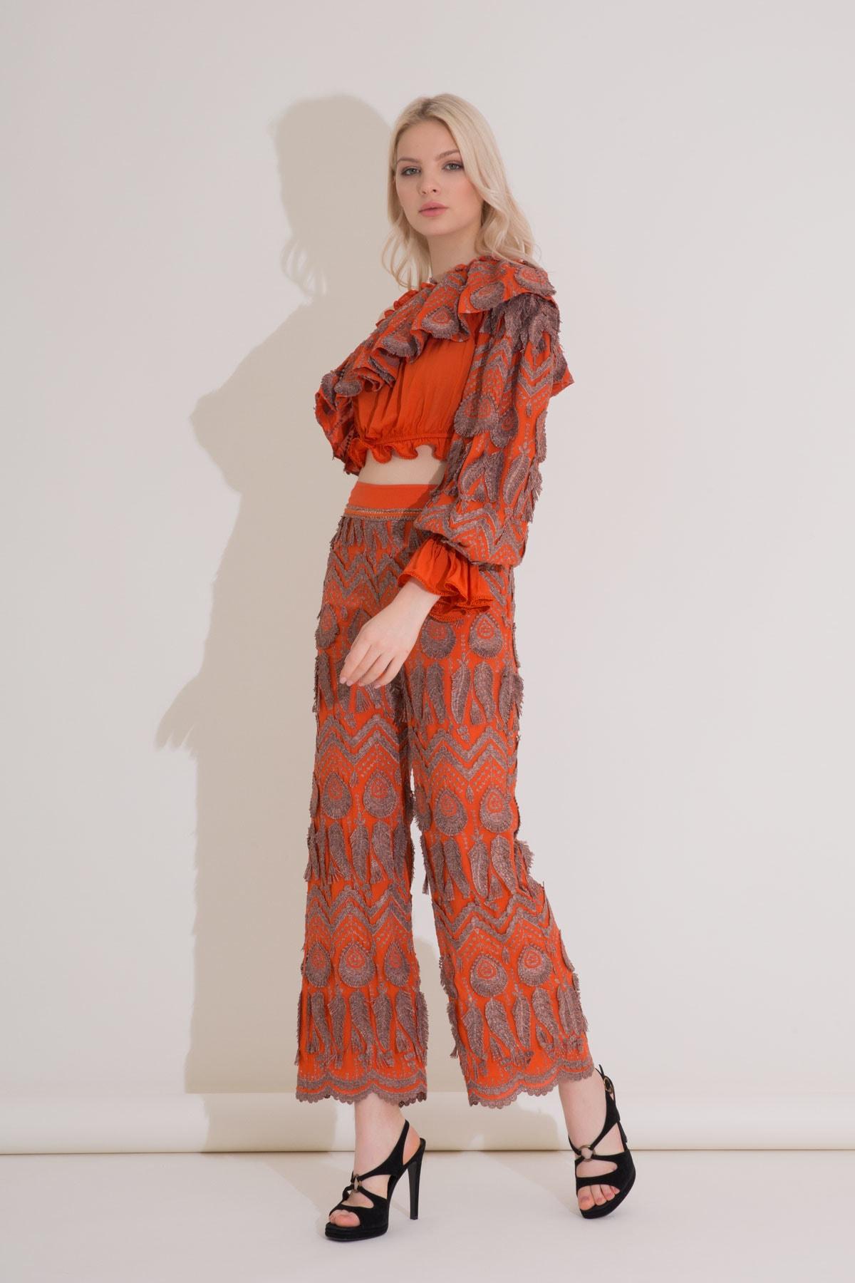 xGIZIA Yüksek Bel Geniş Paça Turuncu Brode Pantolon 1