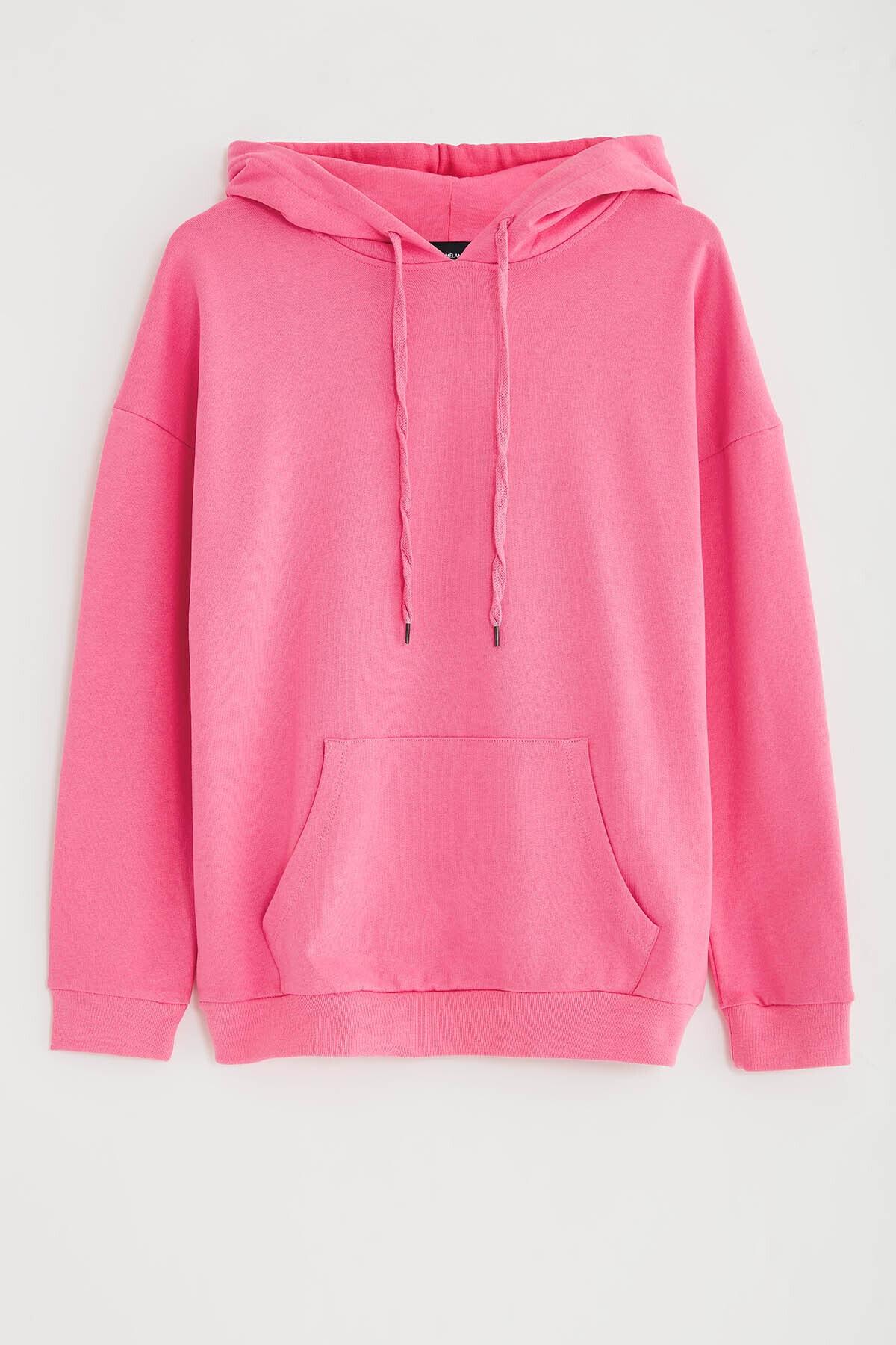 GRIMELANGE JANE Kadın Pembe Basic Kapüşonlu Sweatshirt 1