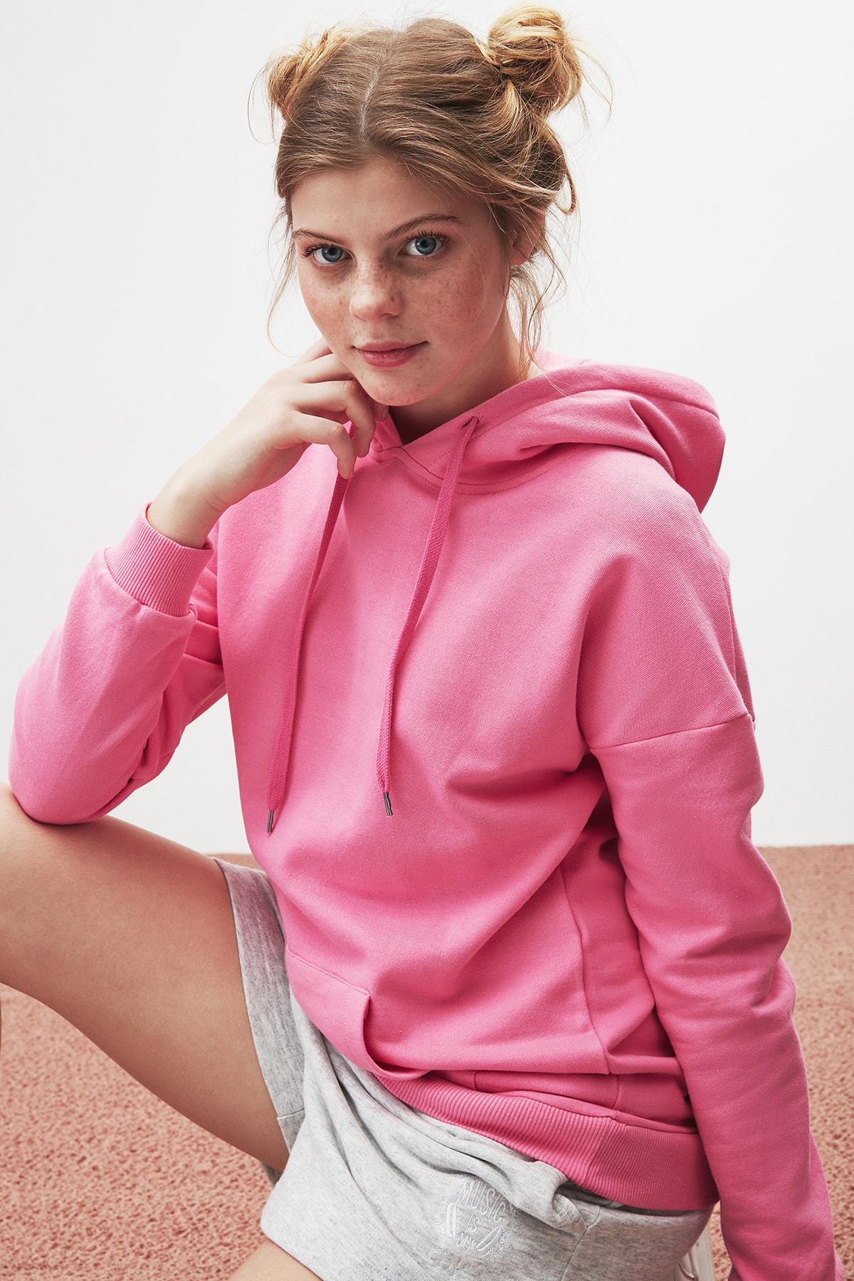 GRIMELANGE JANE Kadın Pembe Basic Kapüşonlu Sweatshirt 2
