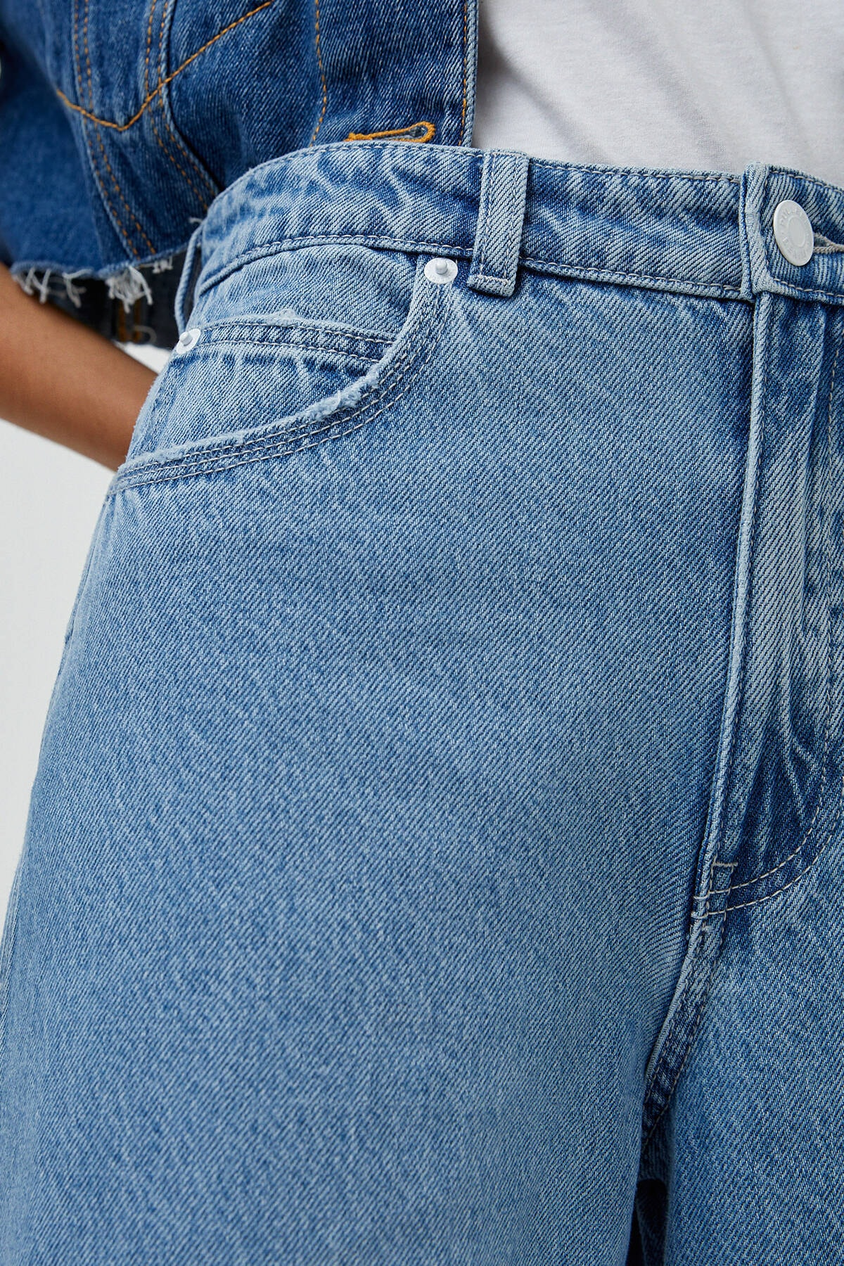 Pull & Bear Kadın Orta Mavi Yüksek Bel Geniş Paça Jean 04685302 2