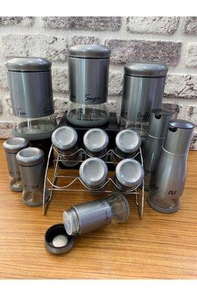 Tutku 13 Parça Metal-cam Baharat Seti Gümüş