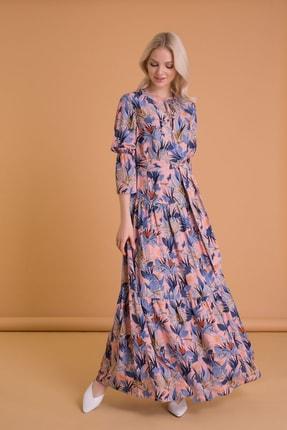 GIZIA CASUAL Kadın Tropik Desenli Karışık Renkli Uzun Elbise