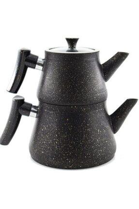 Zümrüt Granit Kaplama Pramit Cam Kapaklı Çaydanlık Siyah