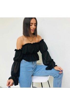 ZerSu Fashion Kadın Siyah Şifon Kolları Büzgü Detay Bluz
